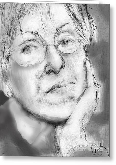 Pensive Drawings Greeting Cards - Selfie Greeting Card by Cecily Mitchell