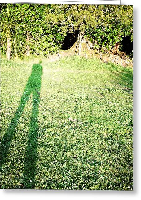 Self-portrait Greeting Cards - Selfie shadow Greeting Card by Les Cunliffe