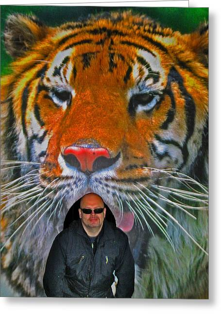 Allegoric Greeting Cards - Selfie with the tiger. Greeting Card by Andy Za