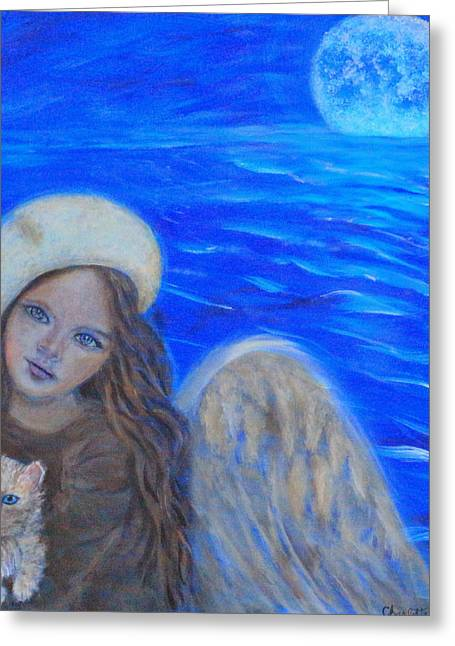 Charlotte Paintings Greeting Cards - Selina Little Angel of the Moon Greeting Card by The Art With A Heart By Charlotte Phillips