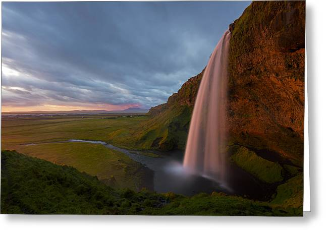 Iceland Greeting Cards - Seljalandfoss Sunset Greeting Card by Joseph Rossbach