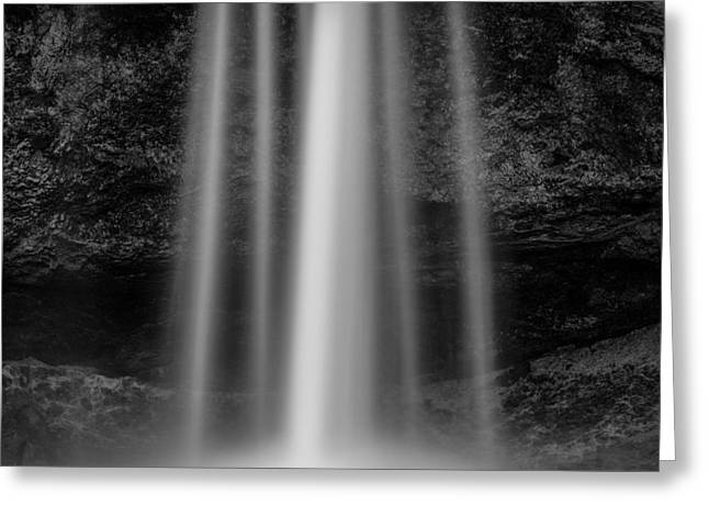 Black And White Waterfall Greeting Cards - Seljalandsfoss 1 Greeting Card by Dave Bowman