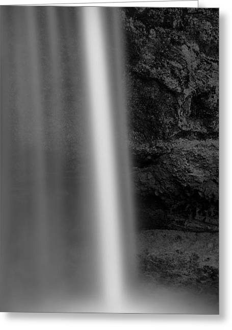 Black And White Waterfall Greeting Cards - Seljalandsfoss 2 Greeting Card by Dave Bowman