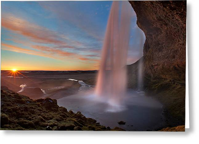 Water In Caves Greeting Cards - Seljalandsfoss Greeting Card by Iurie Belegurschi