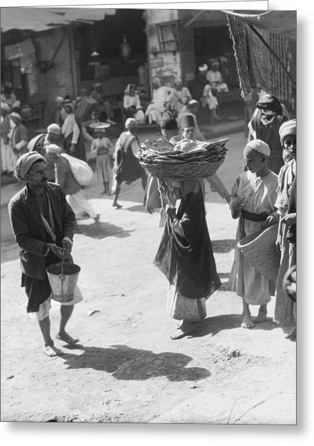 Selling Bread In Baghdad Greeting Card by Underwood Archives