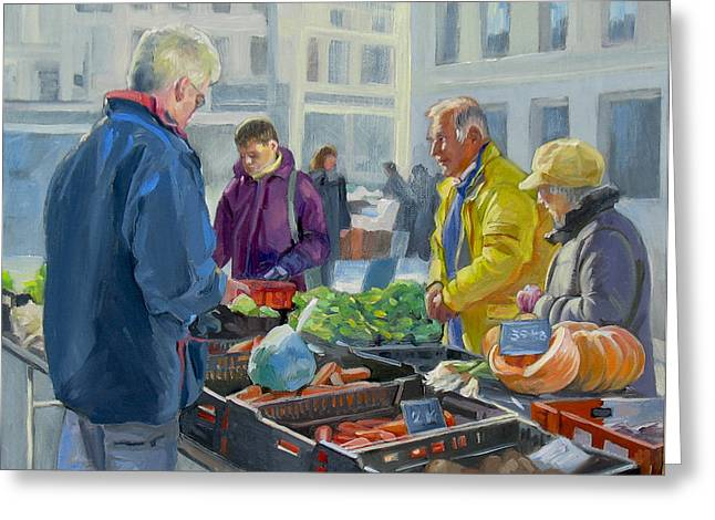 Selling vegetables at the market Greeting Card by Dominique Amendola