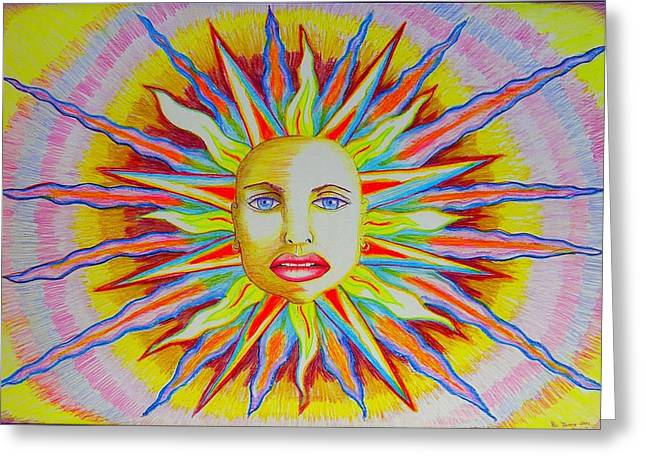 Prisma Colored Pencil Drawings Greeting Cards - Selma Sun Greeting Card by Ru Tover