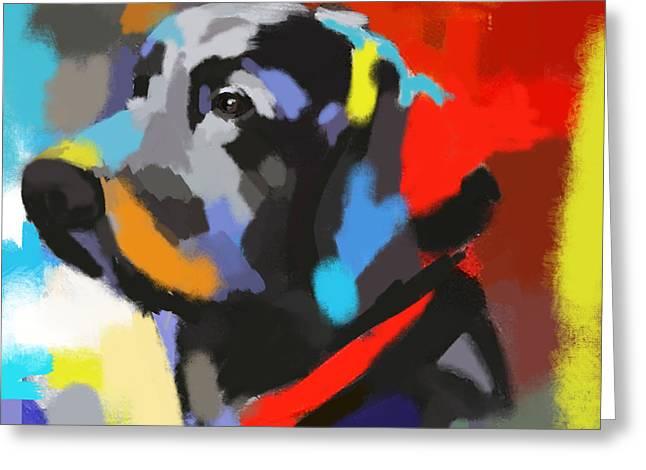 Modern Art Greeting Cards - Dog Sem Greeting Card by Go Van Kampen