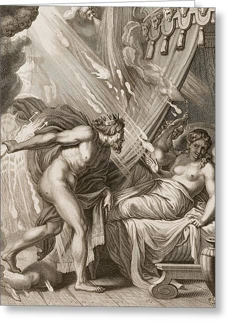 Burning Love Greeting Cards - Semele Is Consumed By Jupiters Fire Greeting Card by Bernard Picart