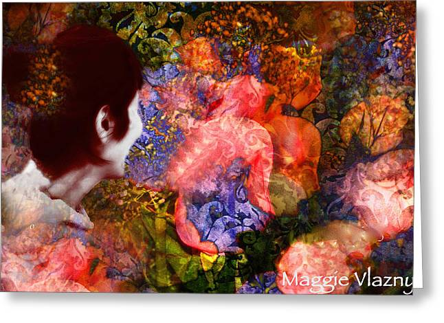 Maggie Vlazny Greeting Cards - Semi Abstract Girl and Future Greeting Card by Maggie Vlazny