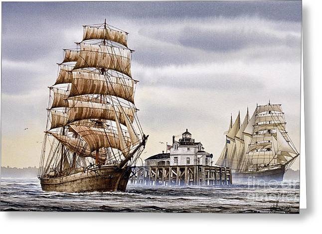 Tall Ship Canvas Greeting Cards - Semi-ah-moo Lighthouse Greeting Card by James Williamson
