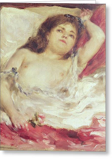 Femme Greeting Cards - Semi-nude Woman In Bed The Rose, Before 1872 Oil On Canvas Greeting Card by Pierre Auguste Renoir