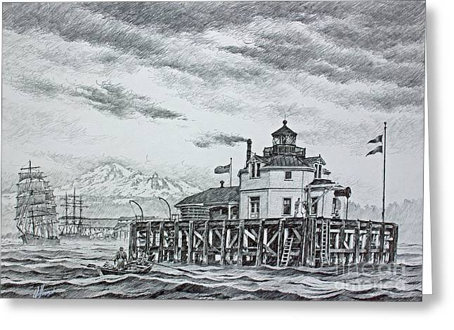 Mt Drawings Greeting Cards - Semiahmoo Lighthouse - Drawing Greeting Card by James Williamson