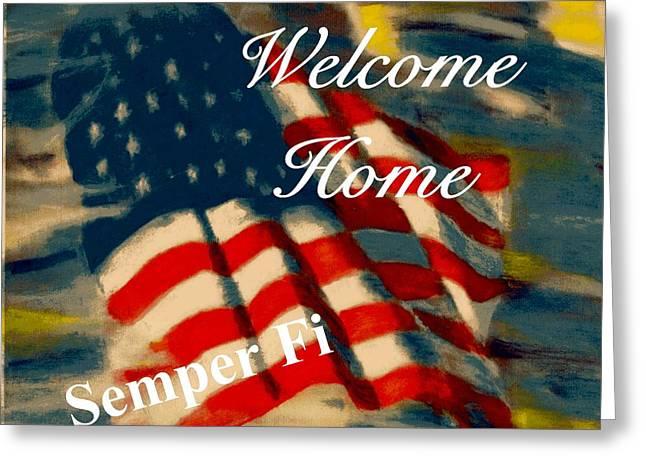 Patriotic Pastels Greeting Cards - Semper Fi Greeting Card Greeting Card by Patrick McClellan