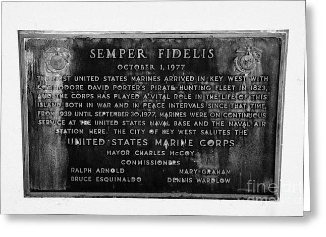 Semper Fidelis Greeting Cards - Semper Fidelis United States Marines Plaque Key West Florida Usa Greeting Card by Joe Fox