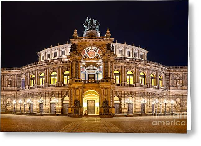 Dresden Greeting Cards - Semperoper Greeting Card by Delphimages Photo Creations