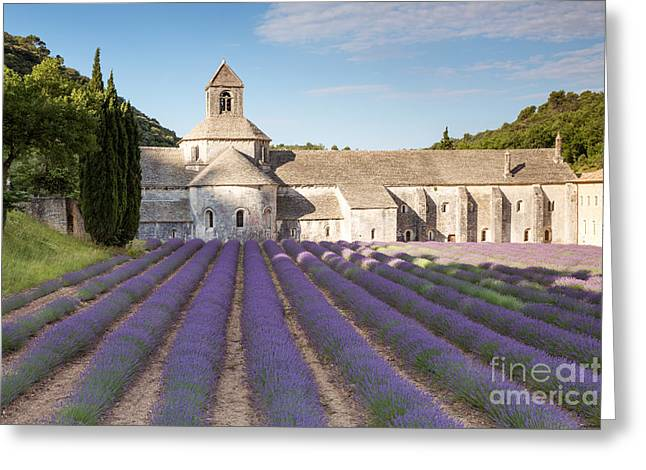 Azur Greeting Cards - Senanque abbey and lavender field - Provence - France Greeting Card by Matteo Colombo