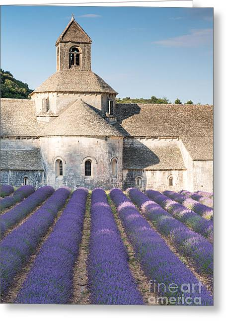 Azur Greeting Cards - Senanque abbey and lavender field in Provence - France Greeting Card by Matteo Colombo