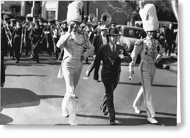 Senator Huey Long In Parade Greeting Card by Underwood Archives