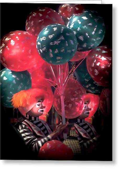 """red Balloon"" Greeting Cards - SEND in the CLOWNS Greeting Card by Karen Wiles"