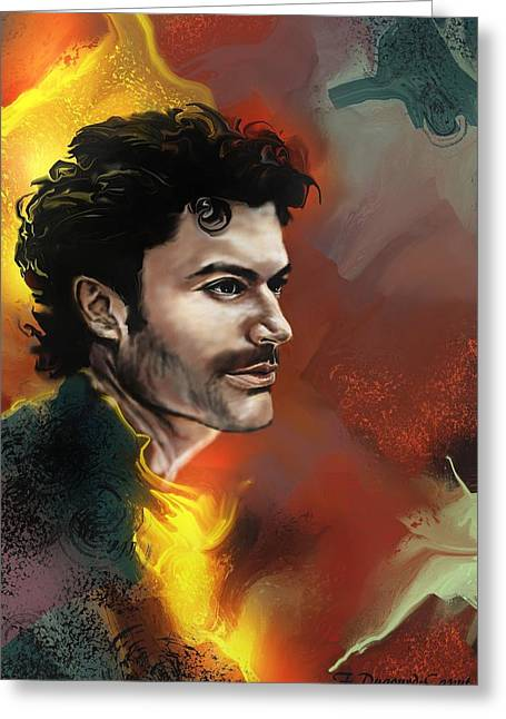 Abstract Digital Paintings Greeting Cards - Sendhil  Greeting Card by Francoise Dugourd-Caput