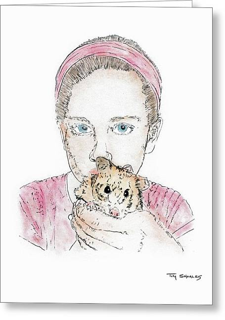 Hamster Drawings Greeting Cards - Seneca and Nibbles Greeting Card by Tim Shoales