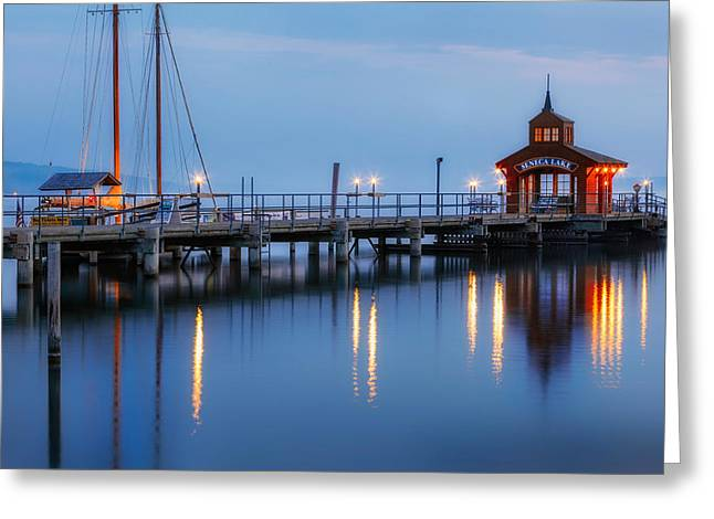 Blue Hour Greeting Cards - Seneca Lake Greeting Card by Bill  Wakeley