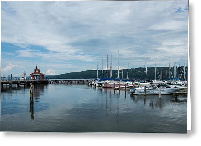 Fingerlakes Greeting Cards - Seneca Lake Harbor - Watkins Glen - Wide Angle Greeting Card by Photographic Arts And Design Studio