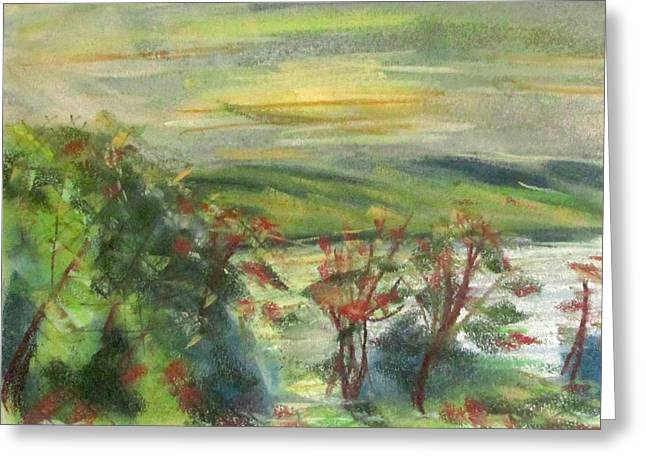New York Pastels Greeting Cards - Seneca Lake Summer Morning Greeting Card by Denny Morreale