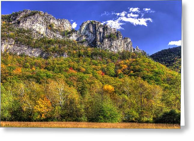Seneca Valley Greeting Cards - Seneca Rocks - 1A Seneca Rocks National Recreation Area WV Autumn Mid-Afternoon Greeting Card by Michael Mazaika