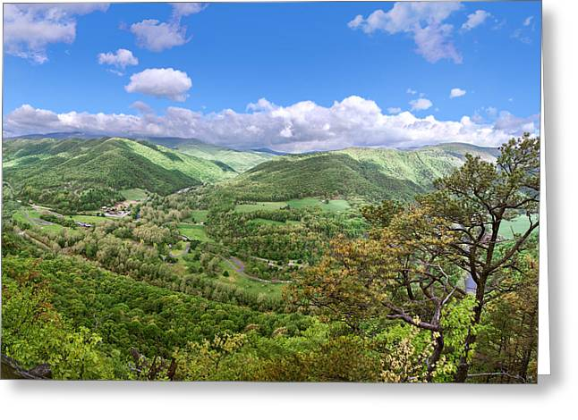 Seneca Valley Greeting Cards - Seneca Rocks Overlook Greeting Card by Mary Almond