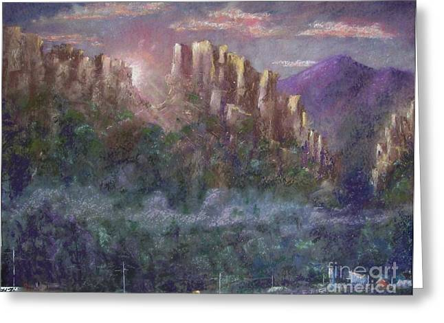 Etc. Pastels Greeting Cards - Seneca Sunrise Greeting Card by Bruce Schrader
