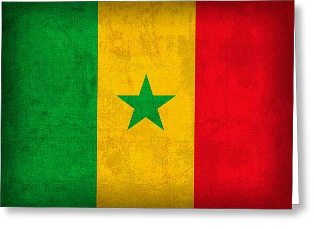 Senegal Greeting Cards - Senegal Flag Vintage Distressed Finish Greeting Card by Design Turnpike