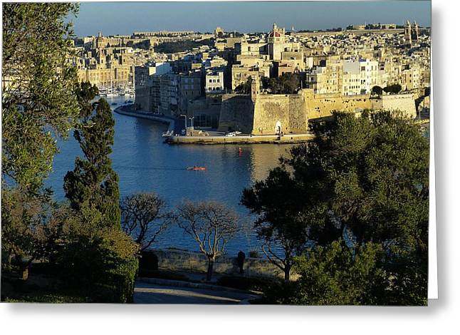 Historic Ship Greeting Cards - Senglea in Spring Greeting Card by David and Mandy