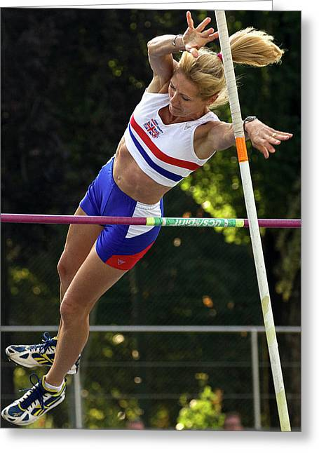 Senior British Female Pole Vaulter Greeting Card by Alex Rotas