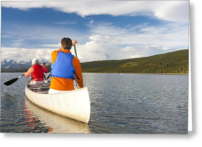 Gray Hair Greeting Cards - Senior Couple Canoeing In Wonder Lake Greeting Card by Michael DeYoung
