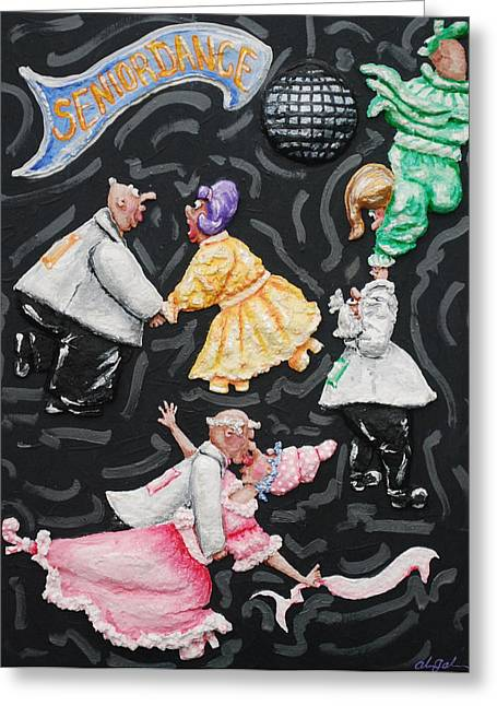 Pink Reliefs Greeting Cards - Senior Dance Greeting Card by Alison  Galvan