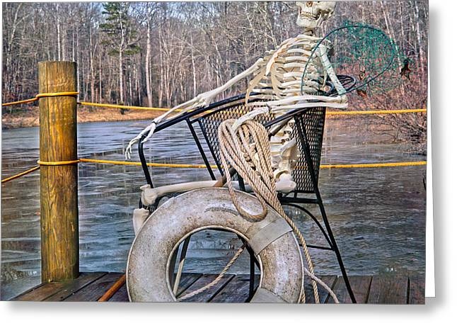 Ghostly Greeting Cards - Senior Lifeguard in Charge Greeting Card by Betsy C  Knapp