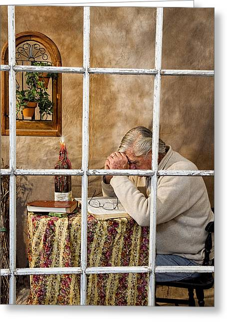 Senior Male Praying Greeting Card by Trudy Wilkerson