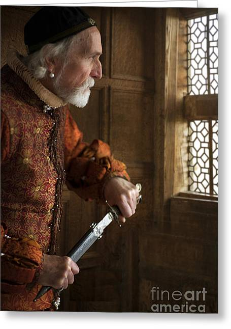 Gold Earrings Greeting Cards - Senior Tudor Man Drawing A Dagger Greeting Card by Lee Avison
