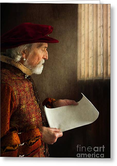 Gold Earrings Greeting Cards - Senior Tudor Man Reading By A Window Greeting Card by Lee Avison