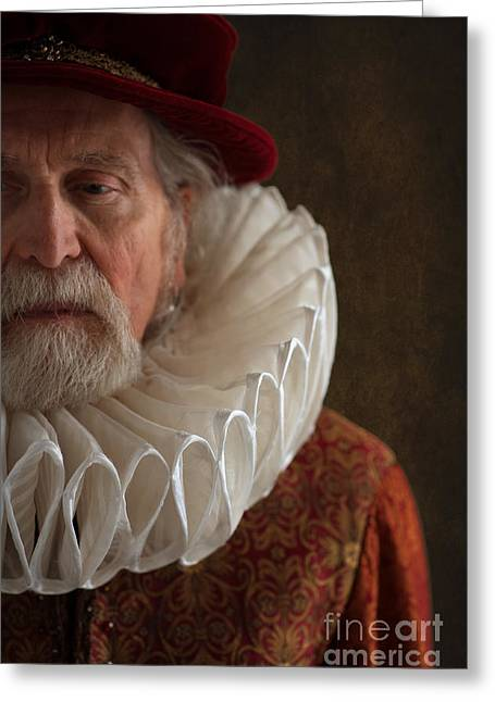 Gold Earrings Greeting Cards - Senior Tudor Man Wearing A Large Ruff Greeting Card by Lee Avison