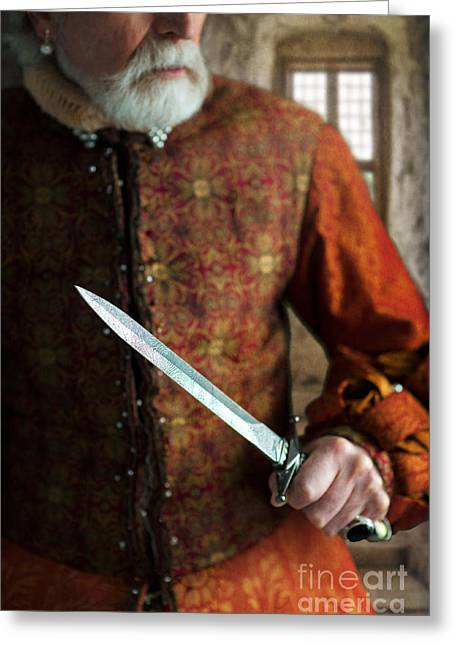 Gold Earrings Greeting Cards - Senior Tudor Man With A Dagger Greeting Card by Lee Avison
