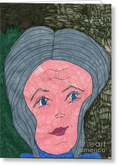 Gray Hair Mixed Media Greeting Cards - Senior Young Greeting Card by Elinor Rakowski