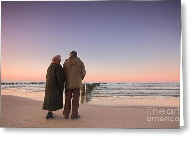 Abstract Beach Landscape Greeting Cards - Seniors love and ocean Greeting Card by Michal Bednarek