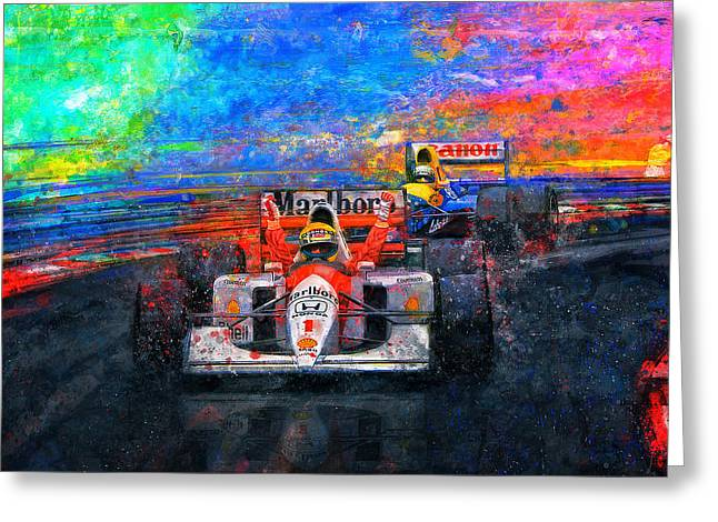 Shells Mixed Media Greeting Cards - Senna For The Win Greeting Card by Alan Greene