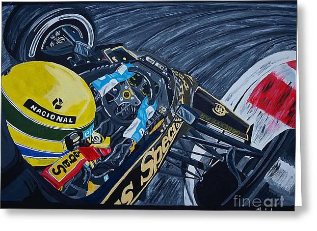 Senna Onboard Greeting Card by Jose Mendez