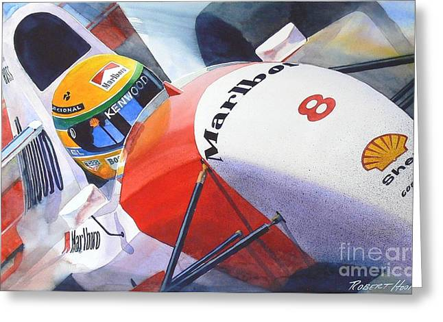 Automobilia Greeting Cards - Senna Greeting Card by Robert Hooper
