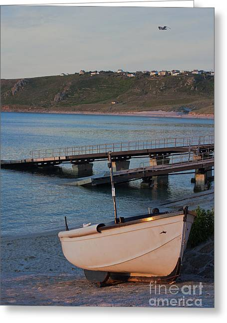 Sennen Cove Greeting Cards - Sennen Cove Boat at Sunset Greeting Card by Terri  Waters