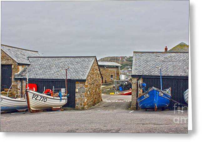 Sennen Cove Greeting Cards - Sennen Cove Fishing Fleet in Winter Greeting Card by Terri  Waters